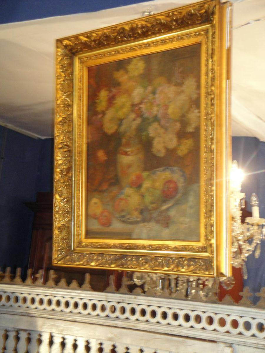 Oil On Canvas Bouquet Of Flowers And Fruit-photo-3