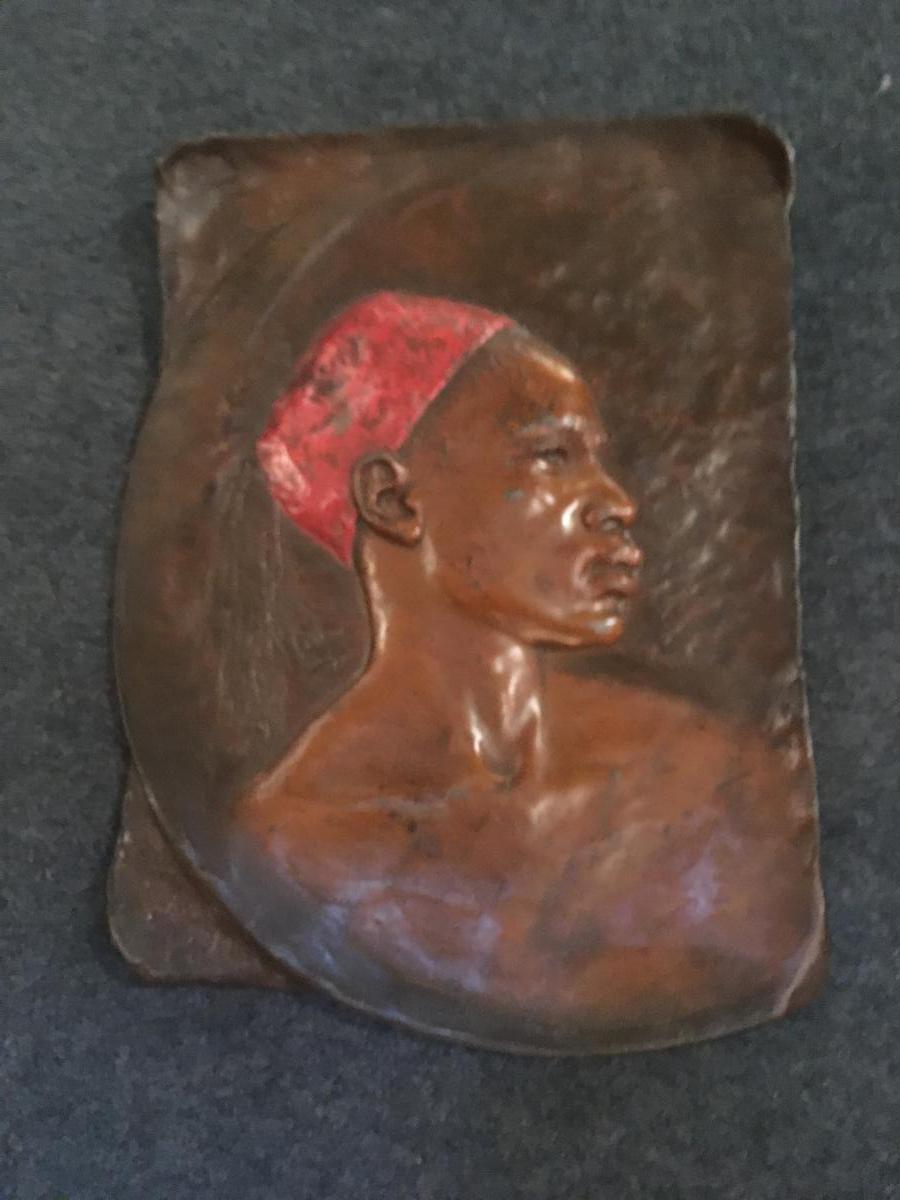 In Regulates Polychrome Plate Signed Lerche Representative A Nubian