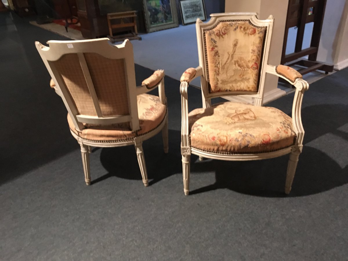 Pair Of Armchairs Style Louis 16, Covered With Tapestry