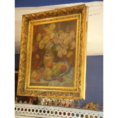 Huile Sur Toile Bouquet De Fleurs Et Fruits