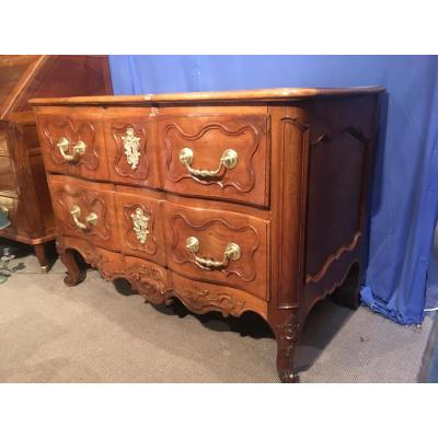 Commode Arbaléte,2 Tiroirs,noyer 18e