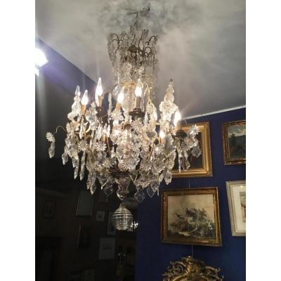 Important Chandelier Cage Bronze And Crystal 12 Lights, 19 Eme