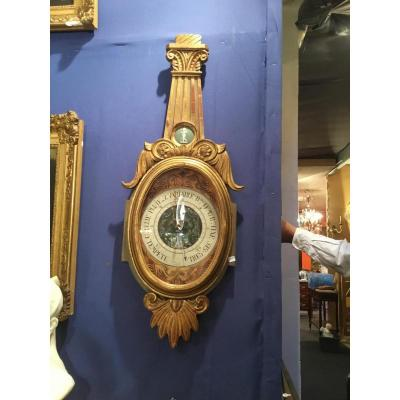 Gilded Wood Barometer Louis XVI Style 19 Eme Adorned With A Small Wedgwood Medallion