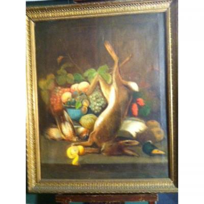 2 Oils On Canvas For Forming (nature Morte The Game) Late 19th Début20e