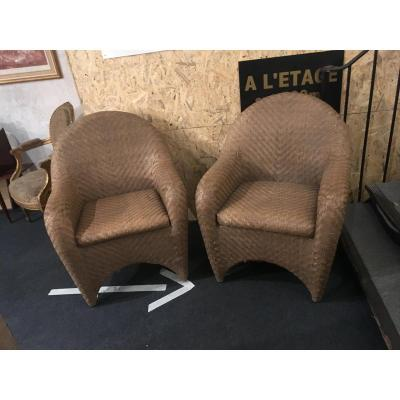 Pair Of Braided Leather Armchairs Around 1950