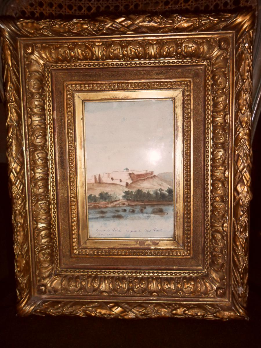 "Of Watercolor Orientalist 19th ""zaouiet Sidi Rahal"""