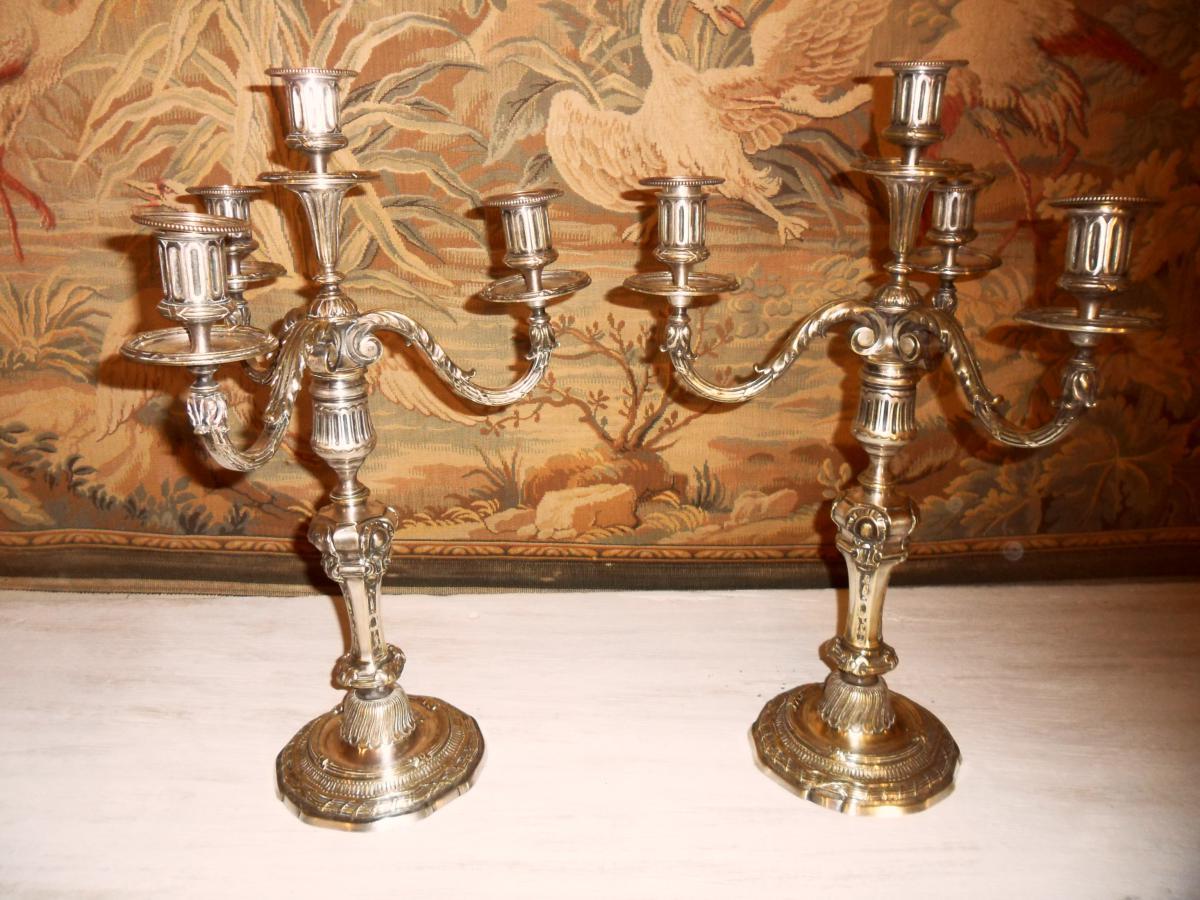 Paire De Chandeliers En Bronze