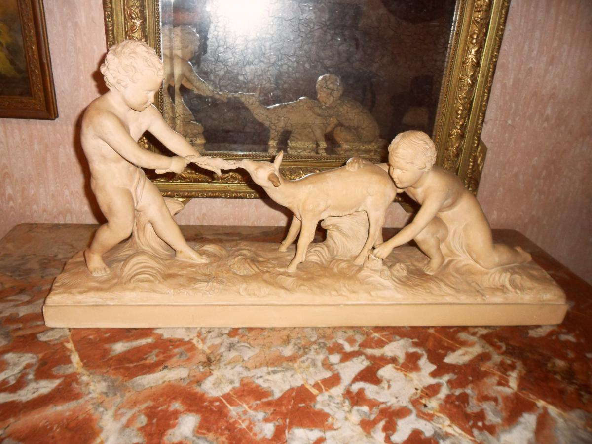 """Terracotta """"children And Doe"""" By Hugo Cipriani"""