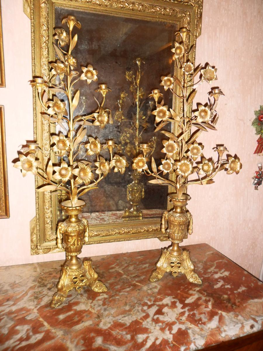 Great Pair Of Candlesticks In Bronze Brass And Gold