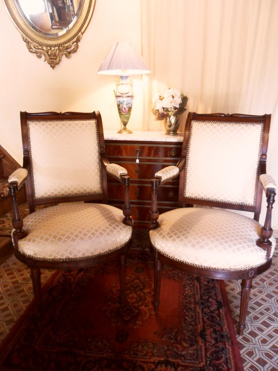 Paire De Fauteuils en Acajou De Style Louis XVI Directoire