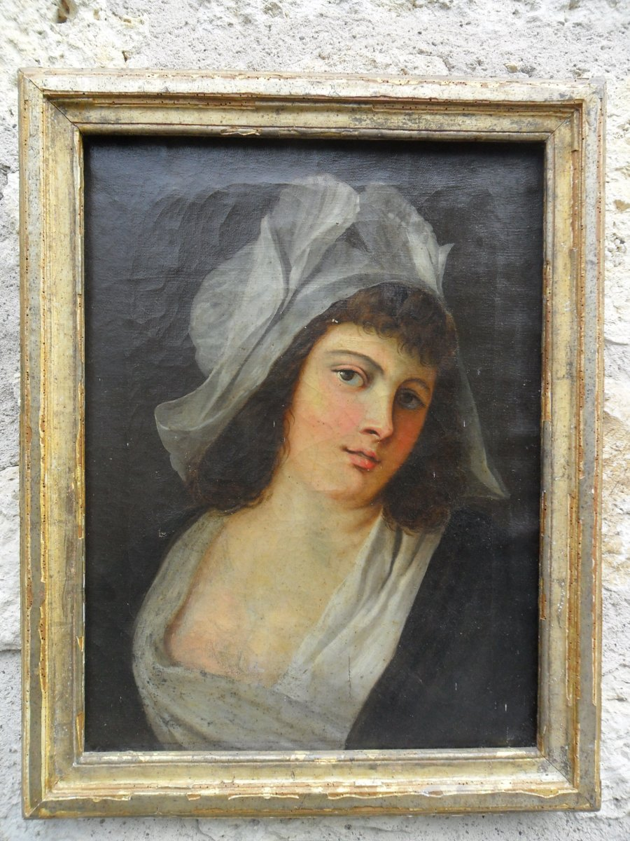 French School Portrait Of Young Girl 18th