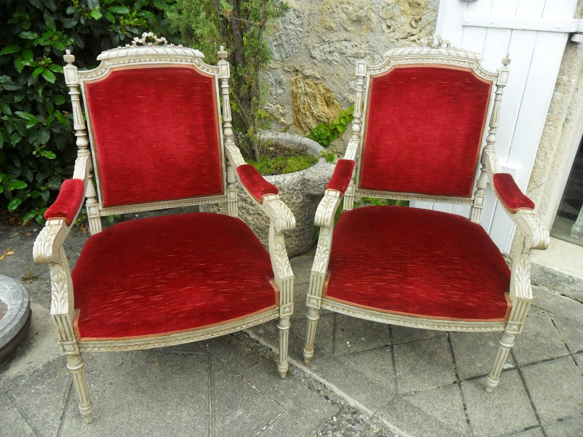 Pair Of Painted Armchairs In Louis XVI Style 19th