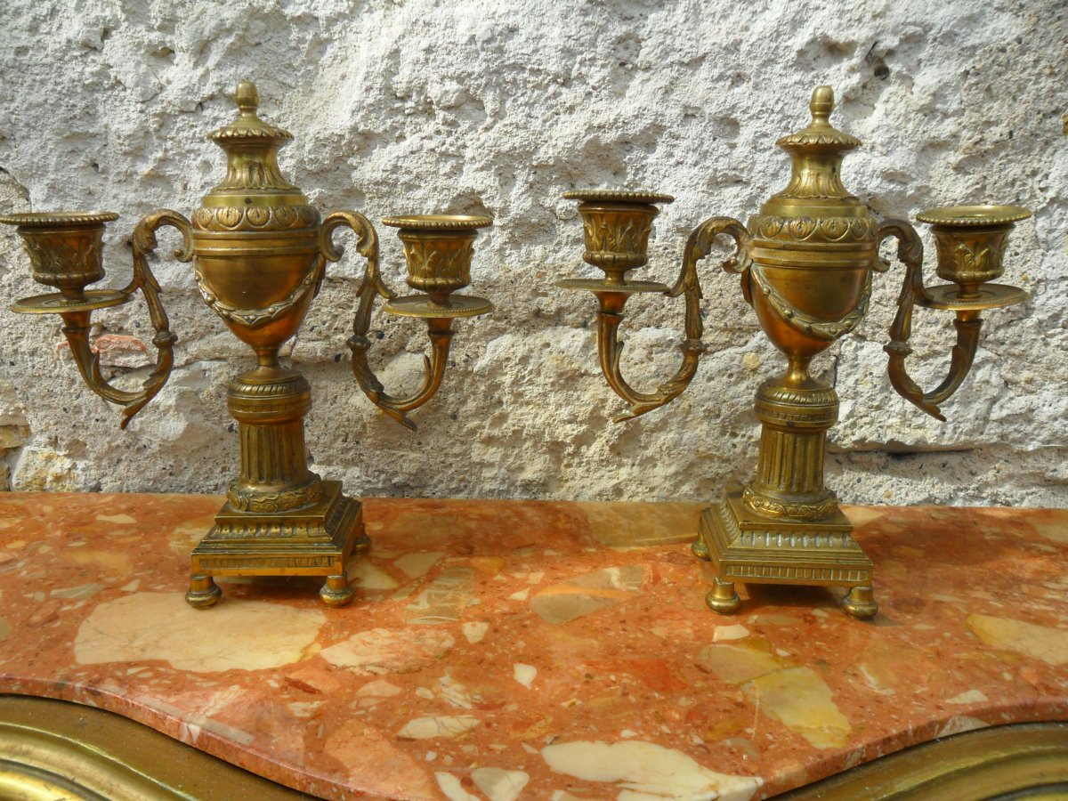 Pair Of Candlesticks In Gilt Bronze Louis XVI Style