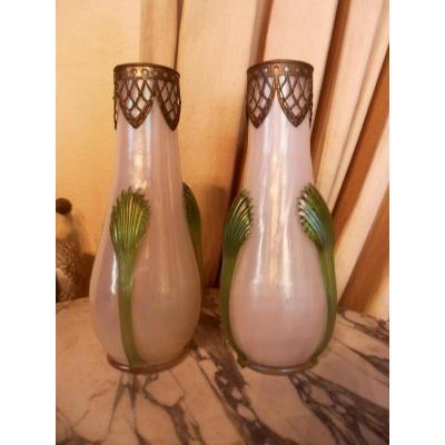 Paire De Vases Art Nouveau De Loetz