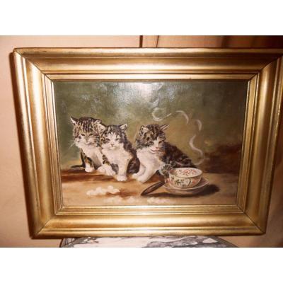 "Oil On Paper ""three Kittens"""