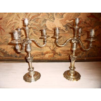 Pair Of Candlesticks In Bronze