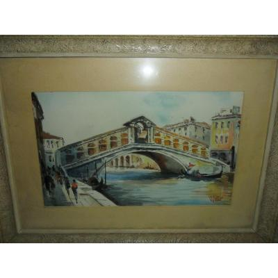 "Watercolor ""rialto Bridge"" Venice"