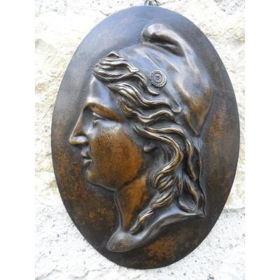 """"""" Marianne """" Médaillon En Bronze XIXème"""