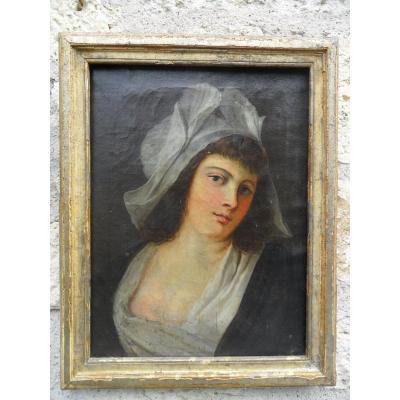 Ecole Francaise Portrait De Jeune Fille 18ème