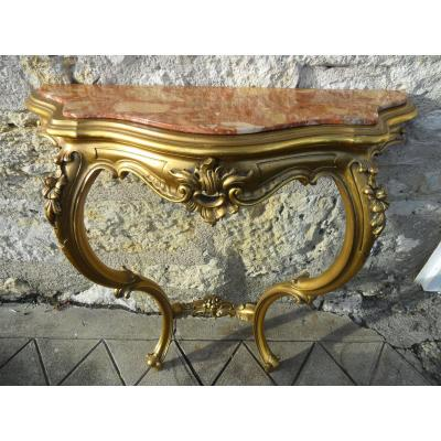 Console Louis XV Style Golden Wood