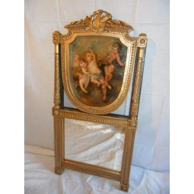 Small 18th Century Trumeau In Golden Wood Louis XVI