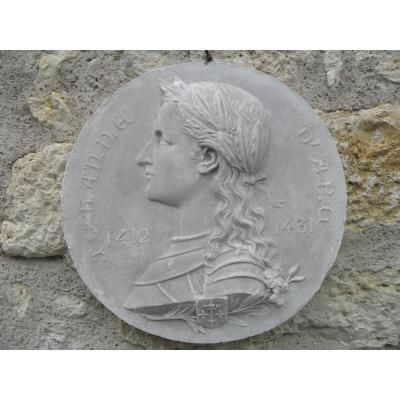 Bas Relief En Médaillon Jeanne d'Arc Par F. Faivre