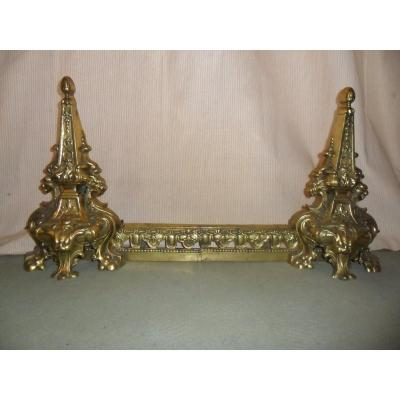 19th Century Gilt Bronze Fireplace Front