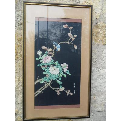 """Grande Peinture Sur Soie """" Branche de Pommier en Fleurs """""""