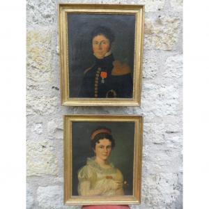 """Paire de Portraits """"Jean Halbert et son Epouse """" Début 19ème"""