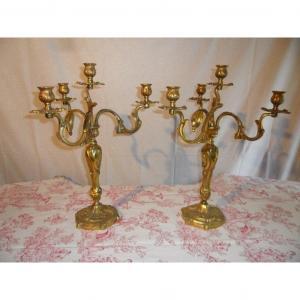 Paire De Candélabres En Bronze Doré De Style Louis XV