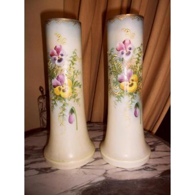 Pair Of Enameled Opaline Vases