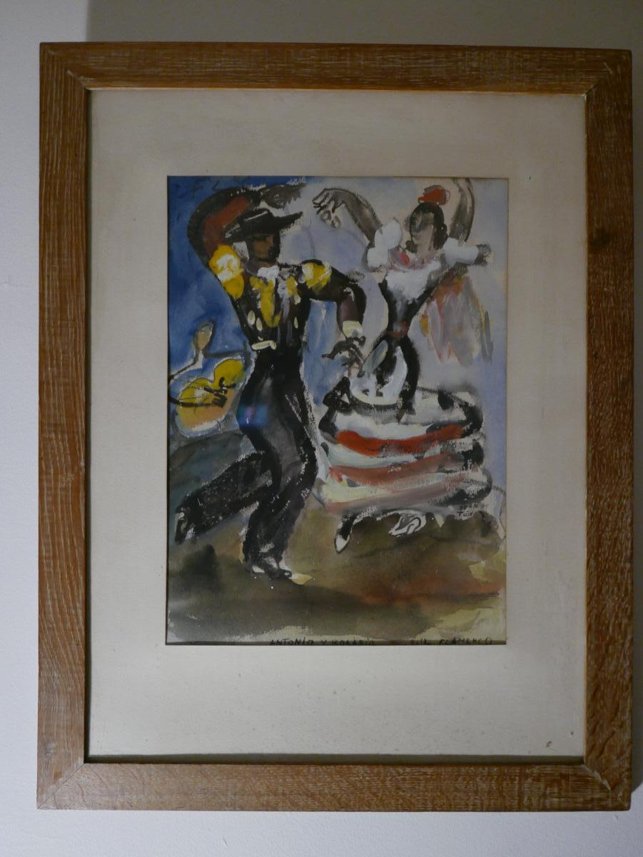 """Jean Toth """"1899-1972"""" Watercolor Flamenco Dancers"""