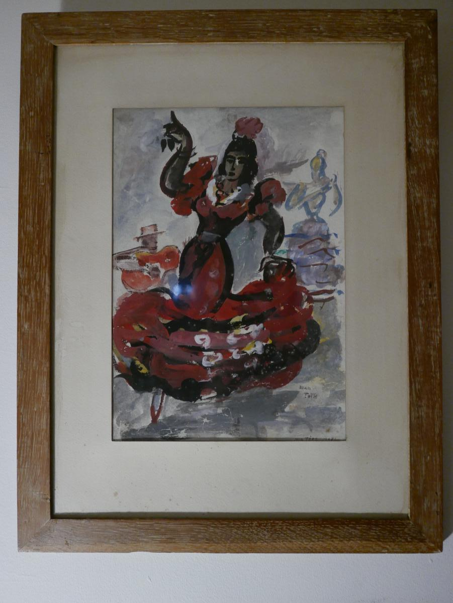 "Jean Toth ""1899-1972"" Aquarelle danseuse De Flamenco"