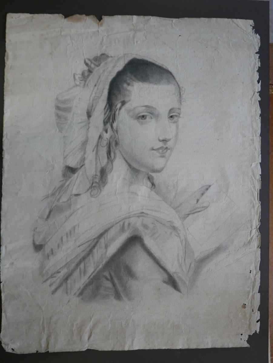"""Portrait Au Cayon Daté 1847 """"femme De Chambre De G. Sand"""""""