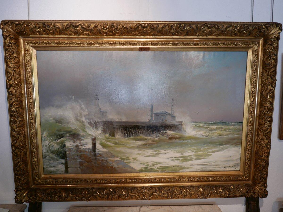Eugène Berthelon (1830-1914) Storm On The Pier