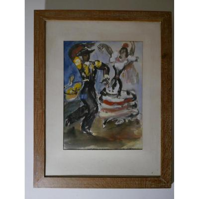 "Jean Toth ""1899-1972"" Aquarelle Danseurs De Flamenco"