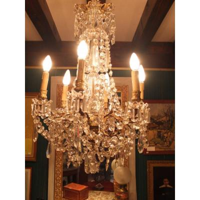 Chandelier Gilt Bronze And Crystal