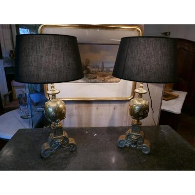 Pair Of Bronze Lamp End 19th
