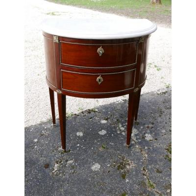 Commode Half-moon Louis XVI Style Mahogany Early 19th