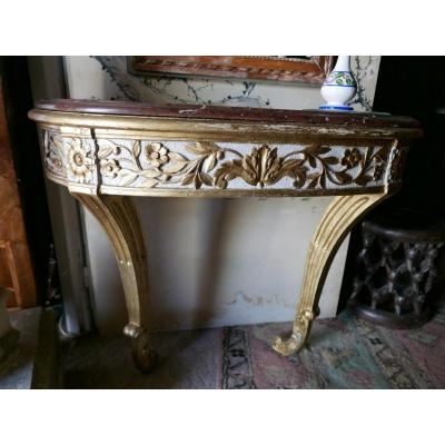 Louis XVI Console In Carved And Golden Wood 18th