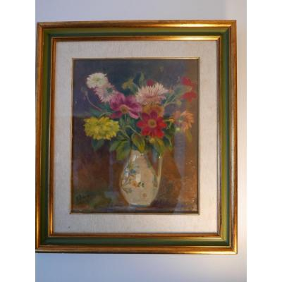 Still Life Bouquet Of Flowers Oil On Canvas Signed