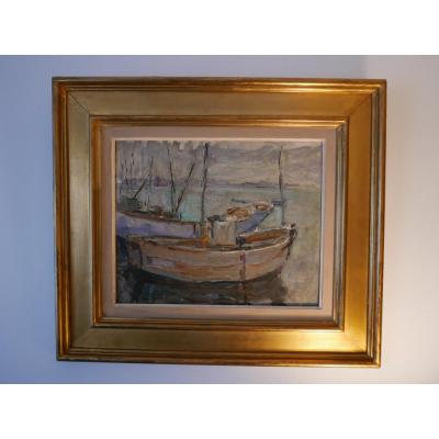 Oil On Panel Fishing Boat In Port 20th