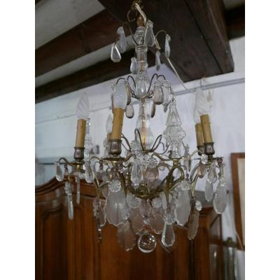 Chandelier A Pampilles Early 20th In Bronze, Crystal And Glass