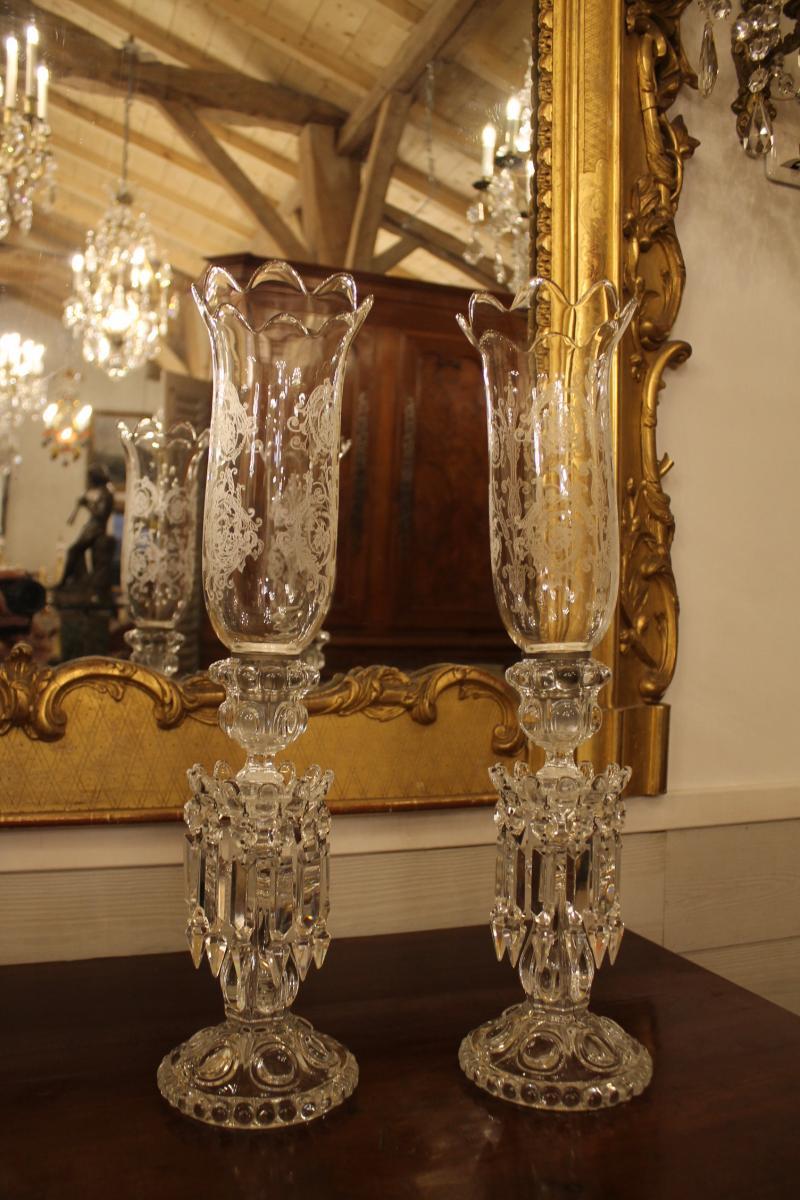 Baccarat, Paire De Bougeoirs Photophores en cristal