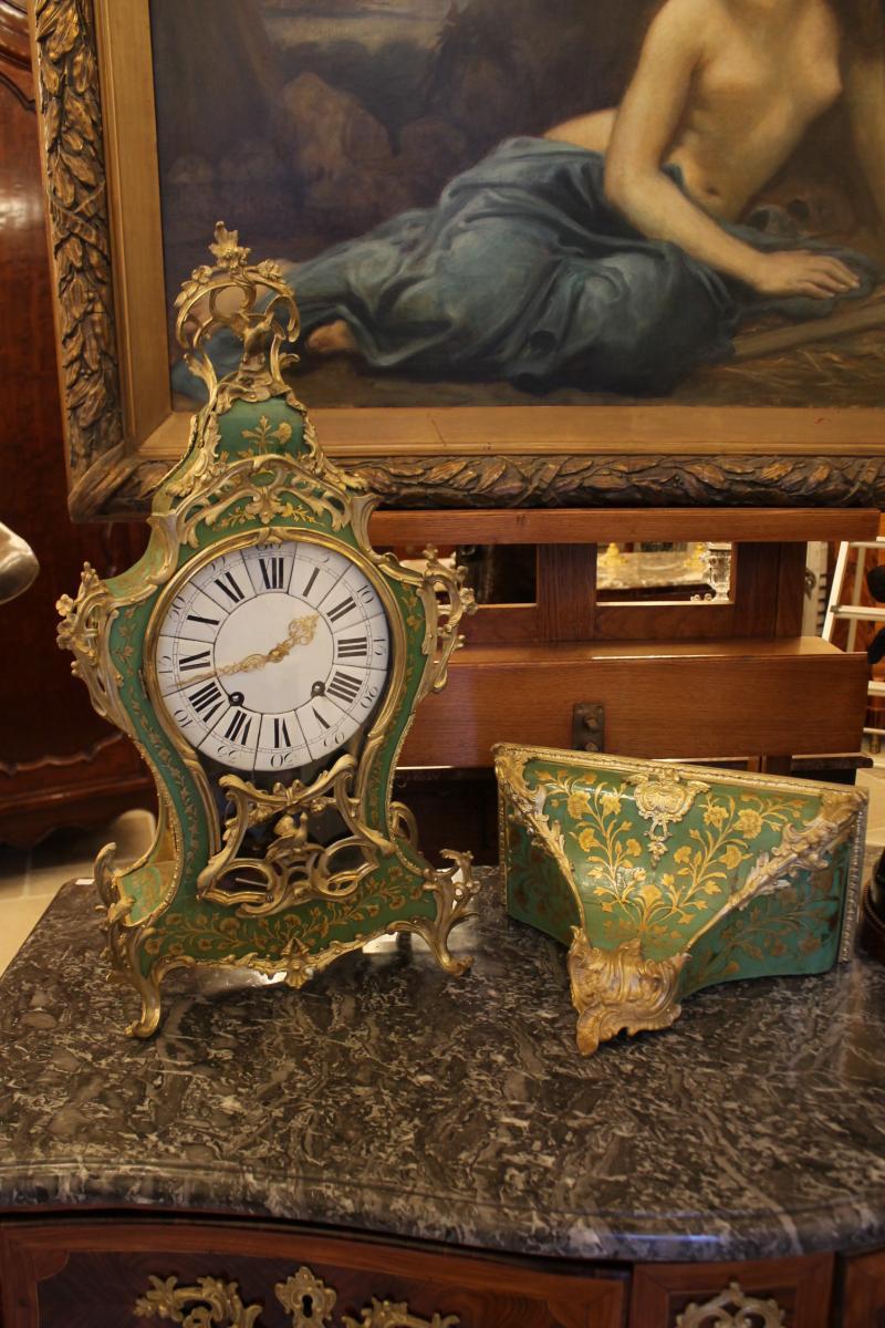 Cartel Et Sa Console En Corne Verte, époque Louis XV