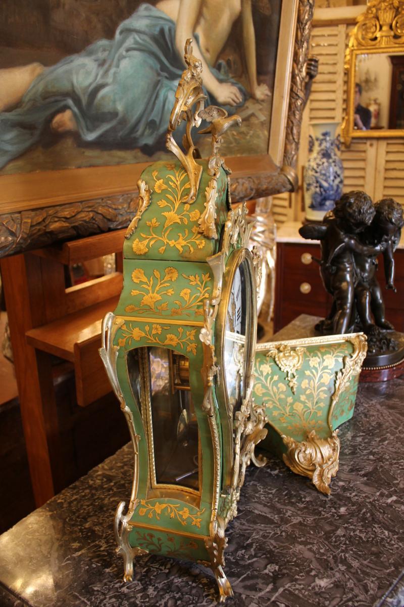 Cartel Et Sa Console En Corne Verte, époque Louis XV-photo-3
