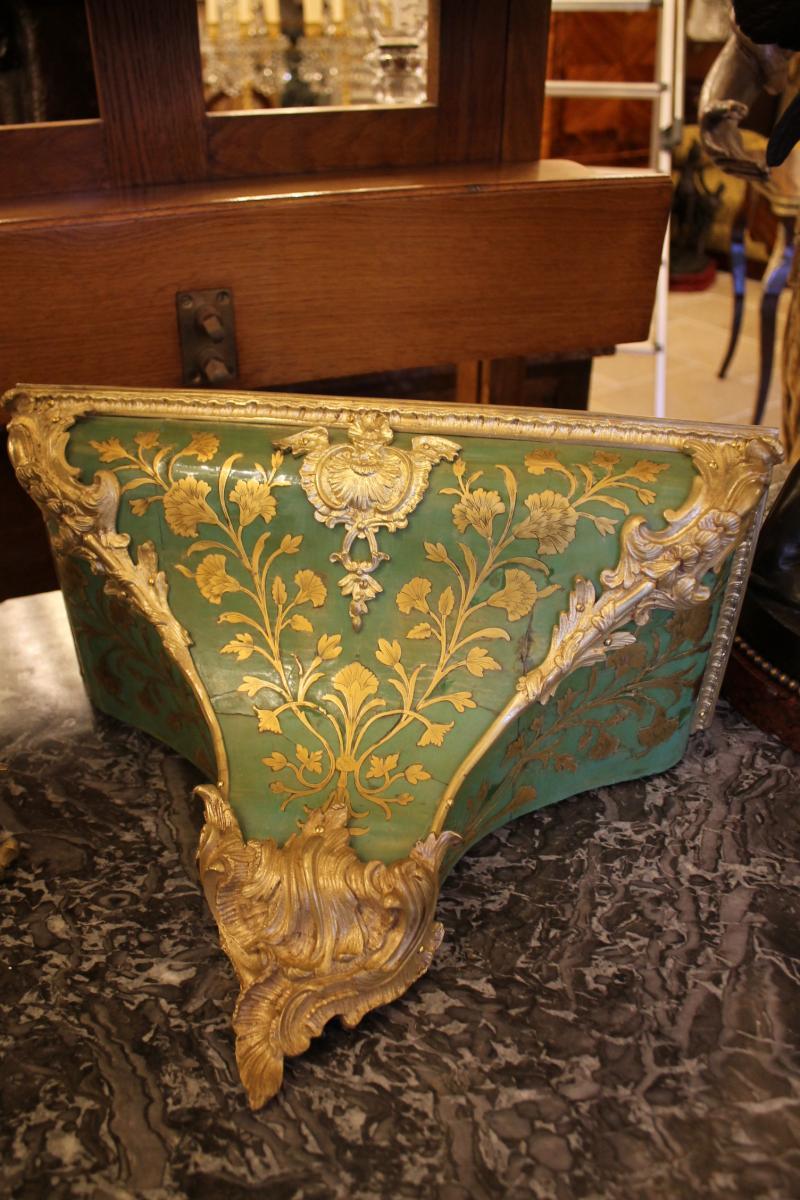 Cartel Et Sa Console En Corne Verte, époque Louis XV-photo-4