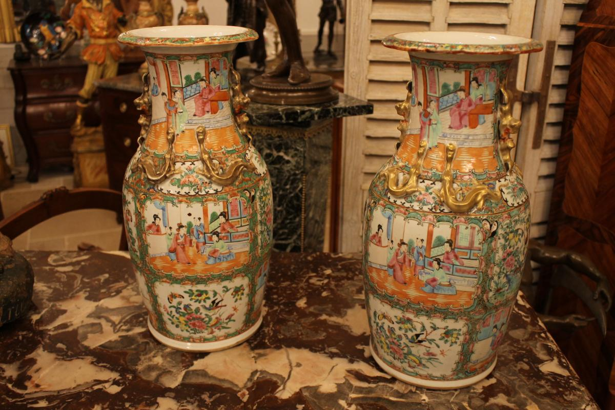 China Canton, Pair Of Vases Porcelain End Nineteenth Century