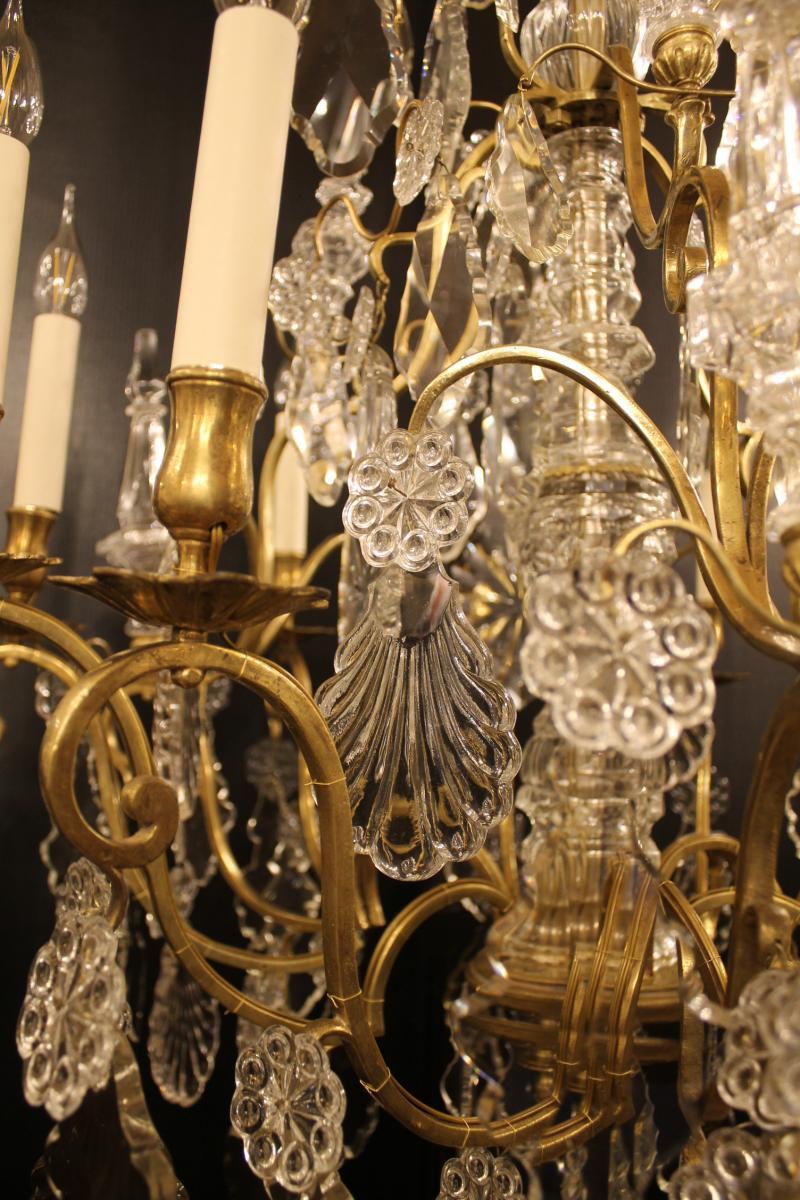 Lustre Cage Louis XV à Neuf Lumières , époque XVIIIème Siècle