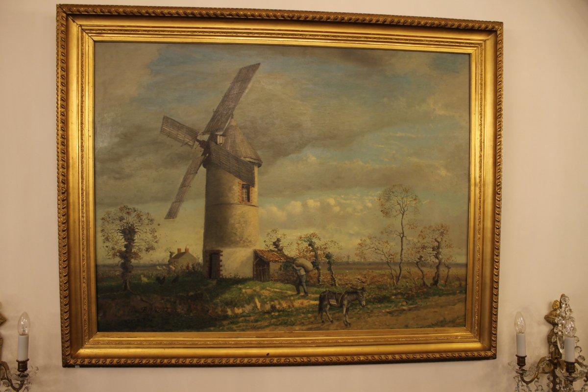Moulin Dans Le Marais Vendéen, Grande Peinture d'Edmond Bertreux